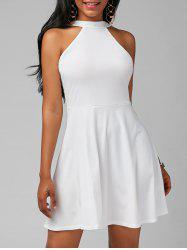 High Neck Mini Fit and Flare Cocktail Dress - WHITE