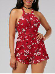 Floral Print Backless Self Tie Romper
