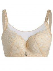 Mesh Trim Plus Size Padded Underwire Bra