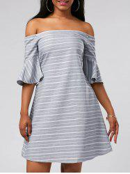 Flare Sleeve Stripe Off The Shoulder Dress