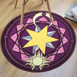 Tapis de bain rond en tissu de velours en cristal Magic Circle Print - Pourpre