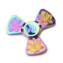 Je t'aime Rose Flower Tri-bar EDC Fidget Metal Spinner - Multicolore