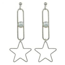 Hollow Out Faux Pearl Star Drop Earrings
