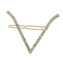 Rhinestone V Shape Hairpin - WHITE