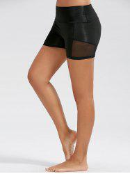 Stretch High Waist Sports Mini Leggings - BLACK