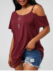 Cold Shoulder Tunic - WINE RED