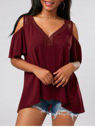 Crochet Cold Shoulder Tunic - WINE RED