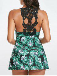 Crochet Back Jungle Skulls Print Skirted Swimsuit