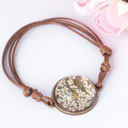 Glass Dry Flower Round Braid Rope Bracelet