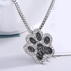 Cute Rhinestone Footprint Pendant Necklace - SILVER
