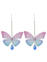 Butterfly Drop Earrings with Acrylic Gem