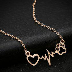 Heart Lightning Paw Shape Necklace
