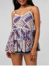 Indian Print Openwork Insert Cami Top