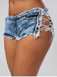 Tight Lace Up Denim Frayed Shorts - DENIM BLUE
