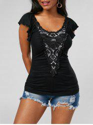 Lace Applique Top - BLACK