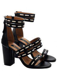 Zipper Faux Leather Sandals