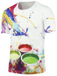 3D Paint Bucket Print Crew Neck T-shirt - WHITE