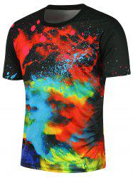 3D Colorful Tie-dye Printed Crew Neck Tee - BLACK