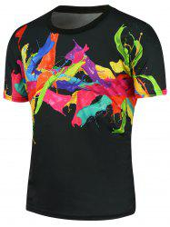 Short Sleeves 3D Colorful Splashing Paint T-shirt