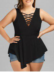 Crisscross Asymmetrical Plus Size Top - BLACK