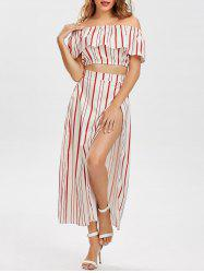 Off The Shoulder Striped Three Piece Dress