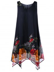 A Line Tunic V Neck Floral Plus Size Handkerchief Dress - BLACK