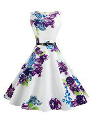 Retro Sleeveless Printed Fit and Flare Dress - PURPLE