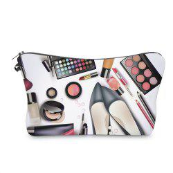 Cosmetics 3D Print Makeup Clutch Bag - BLACK