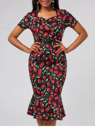 Bodycon Cherry Print Mermaid Dress