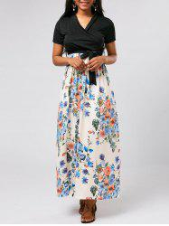 Ankle Length Floral Short Sleeve Maxi Surplice Dress
