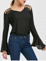 Bell Sleeve Cut Out Chiffon Top