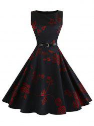 Floral Sleeveless Vintage Fit and Flare Dress - RED