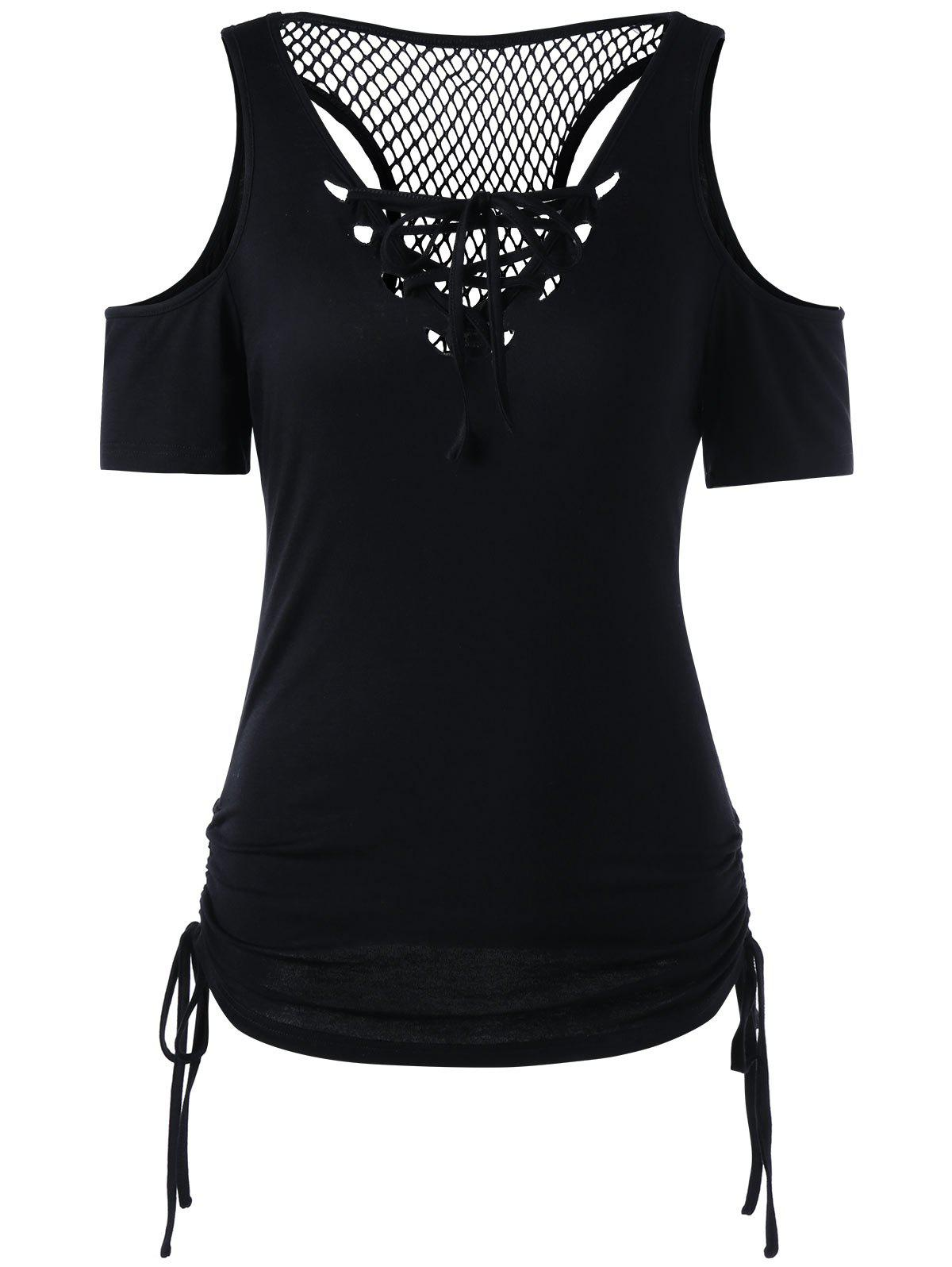 Shops Openwork Cold Shouder Lace Up T-shirt