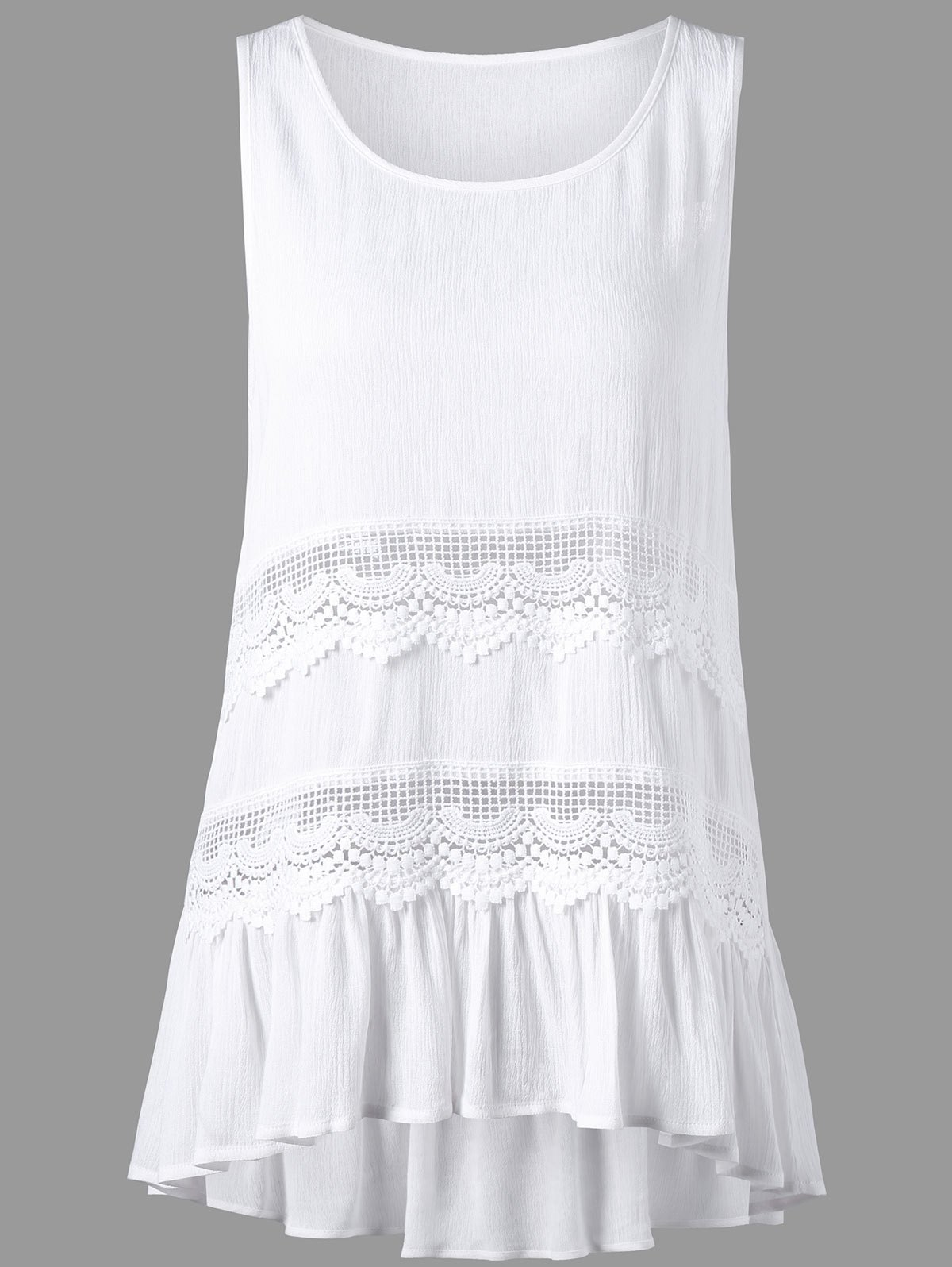 New Sleeveless Openwork Insert High Low Hem Blouse