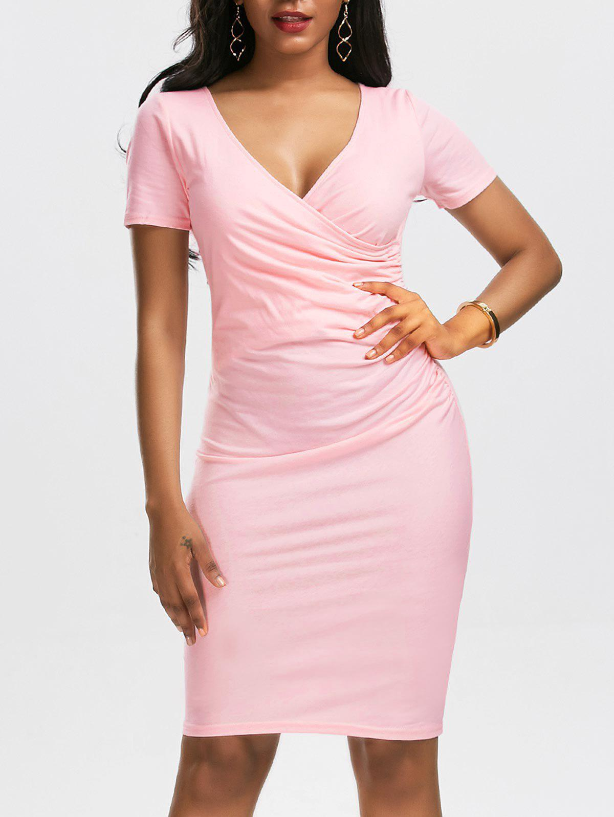 Fancy Ruched Surplice Bodycon Fitted Plain Tight Dress