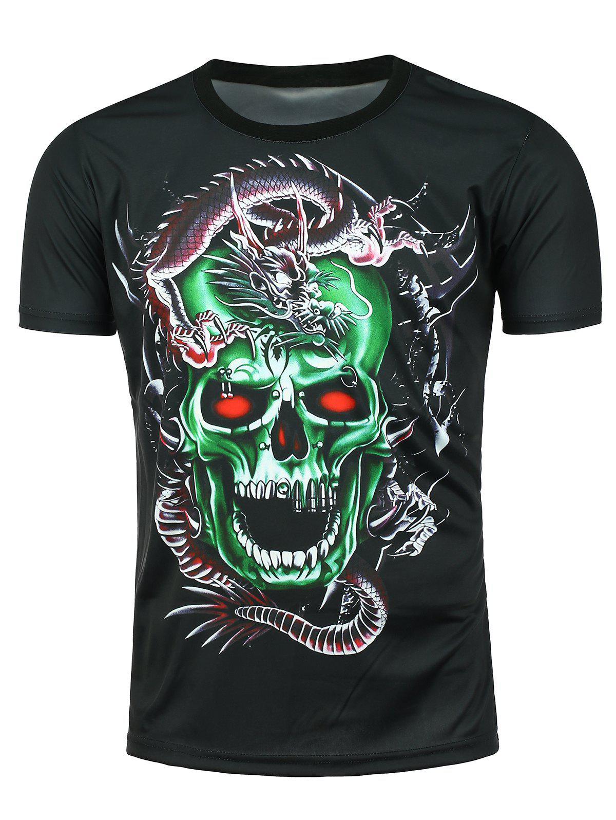 3D Dragon Skull Printed Crew Neck T-shirtMEN<br><br>Size: 2XL; Color: BLACK; Style: Fashion; Material: Polyester; Sleeve Length: Short; Collar: Crew Neck; Pattern Type: Skulls; Weight: 0.1870kg; Package Contents: 1 x T-shirt;