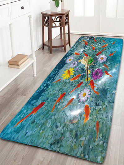 Goldfish Print Bathroom Skid Resistant Flannel RugHOME<br><br>Size: W16 INCH * L47 INCH; Color: BLUE GREEN; Products Type: Bath rugs; Materials: Flannel; Pattern: Animal; Style: Trendy; Shape: Rectangle; Package Contents: 1 x Rug;
