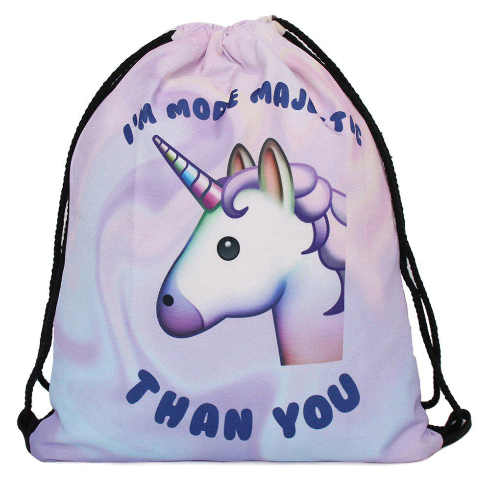 Drawstring Unicorn Print BackpackSHOES &amp; BAGS<br><br>Color: PURPLE; Handbag Type: Backpack; Style: Casual; Gender: For Women; Pattern Type: Print; Handbag Size: Medium(30-50cm); Closure Type: String; Occasion: Versatile; Main Material: Polyester; Weight: 1.2000kg; Size(CM)(L*W*H): L33CM*H39CM; Package Contents: 1 x Backpack;
