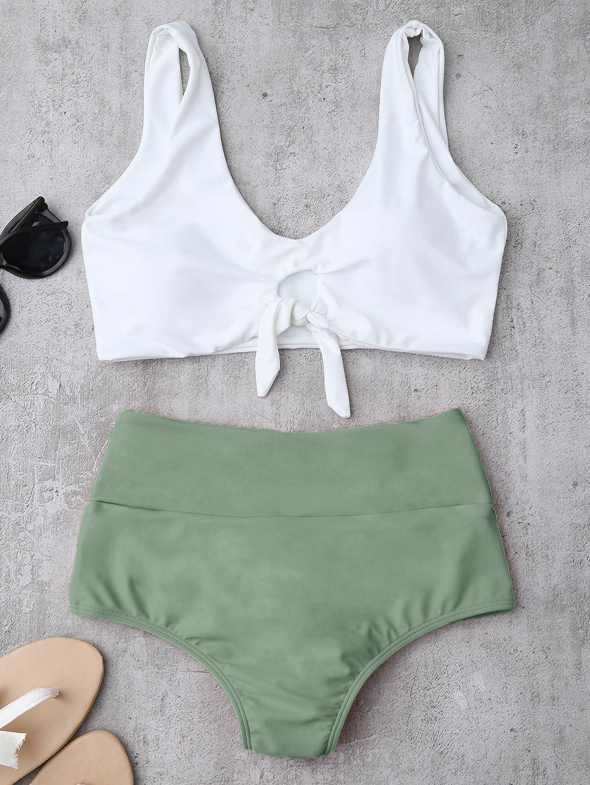 High Waisted Ruched Bikini SetWOMEN<br><br>Size: XL; Color: LIGHT GREEN; Swimwear Type: Bikini; Gender: For Women; Material: Chinlon,Spandex; Bra Style: Padded; Support Type: Wire Free; Neckline: Straps; Pattern Type: Others; Waist: High Waisted; Elasticity: Elastic; Weight: 0.2200kg; Package Contents: 1 x Top  1 x Briefs;
