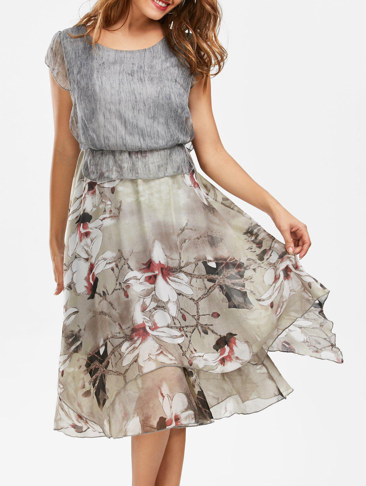 Shop Bohemian Floral Midi Peplum Dress