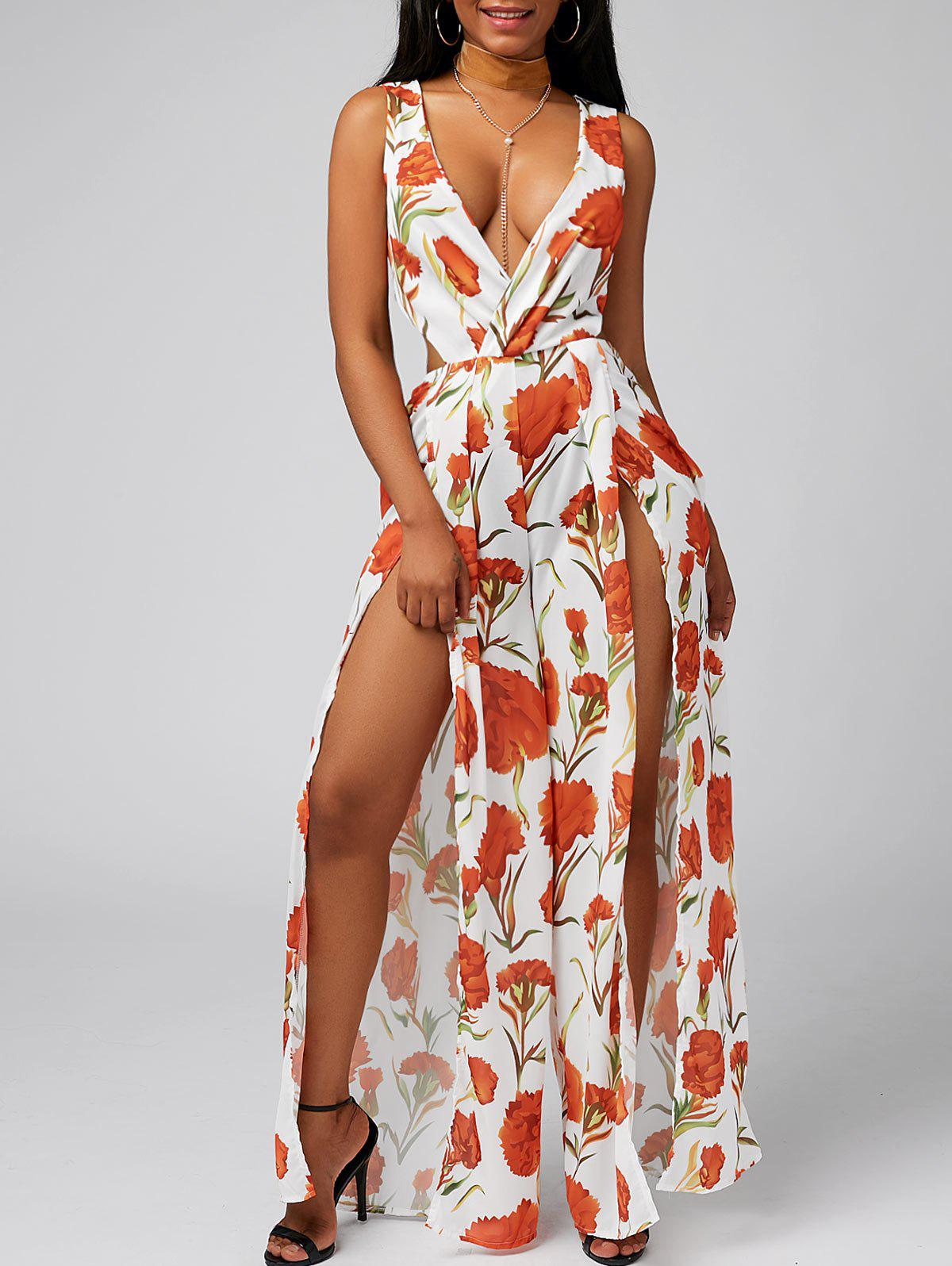 Buy Plunge Knot Slit Cut Out Jumpsuit