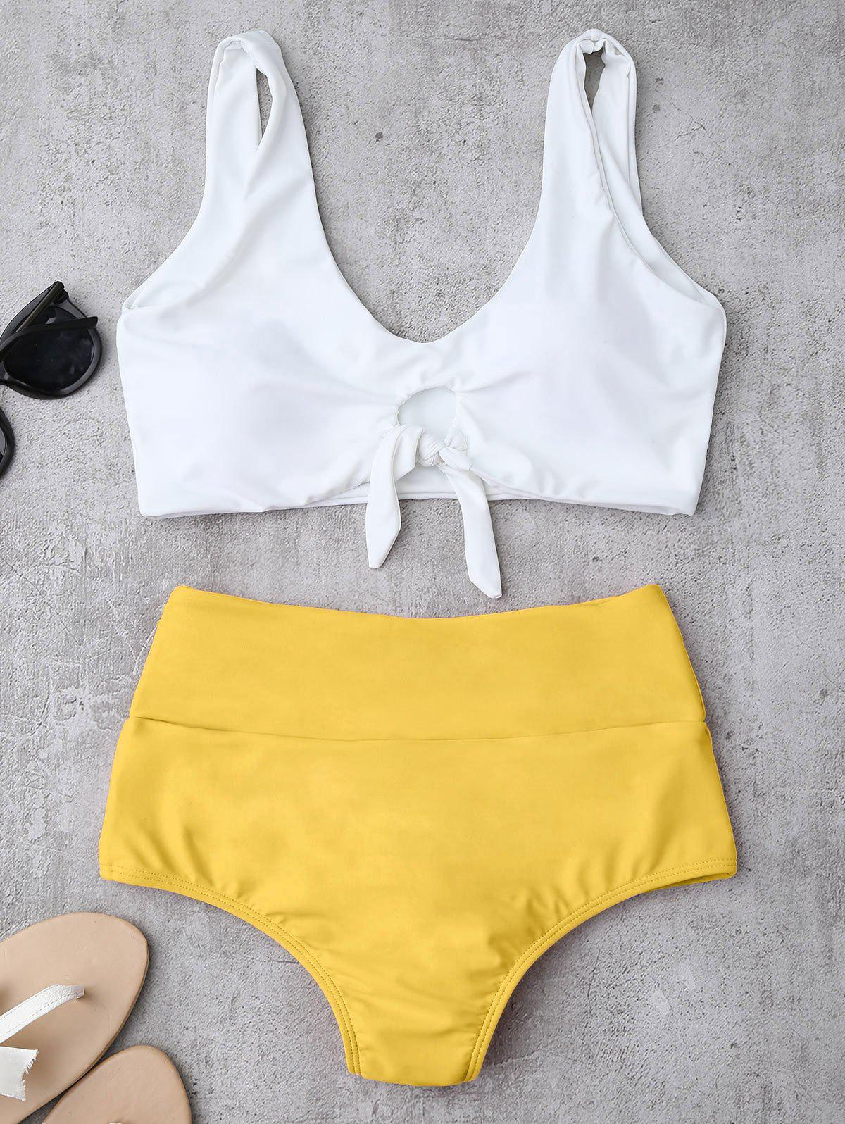 High Waisted Ruched Bikini SetWOMEN<br><br>Size: M; Color: YELLOW; Swimwear Type: Bikini; Gender: For Women; Material: Chinlon,Spandex; Bra Style: Padded; Support Type: Wire Free; Neckline: Straps; Pattern Type: Others; Waist: High Waisted; Elasticity: Elastic; Weight: 0.2200kg; Package Contents: 1 x Top  1 x Briefs;