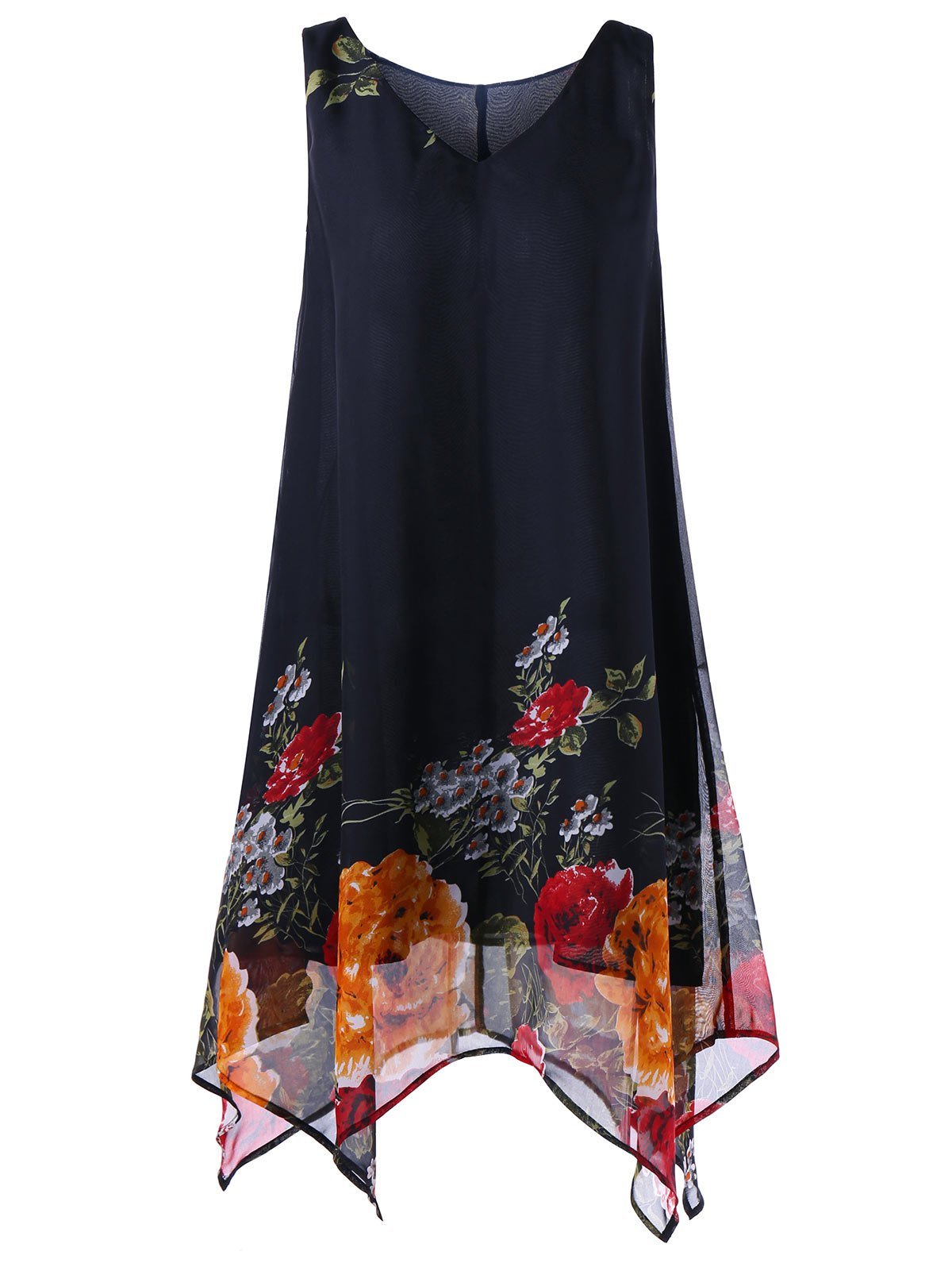 A Line Tunic V Neck Floral Plus Size Handkerchief DressWOMEN<br><br>Size: 4XL; Color: BLACK; Style: Brief; Material: Polyester; Silhouette: A-Line; Dresses Length: Knee-Length; Neckline: V-Neck; Sleeve Length: Sleeveless; Pattern Type: Floral; With Belt: No; Season: Summer; Weight: 0.2600kg; Package Contents: 1 x Dress;
