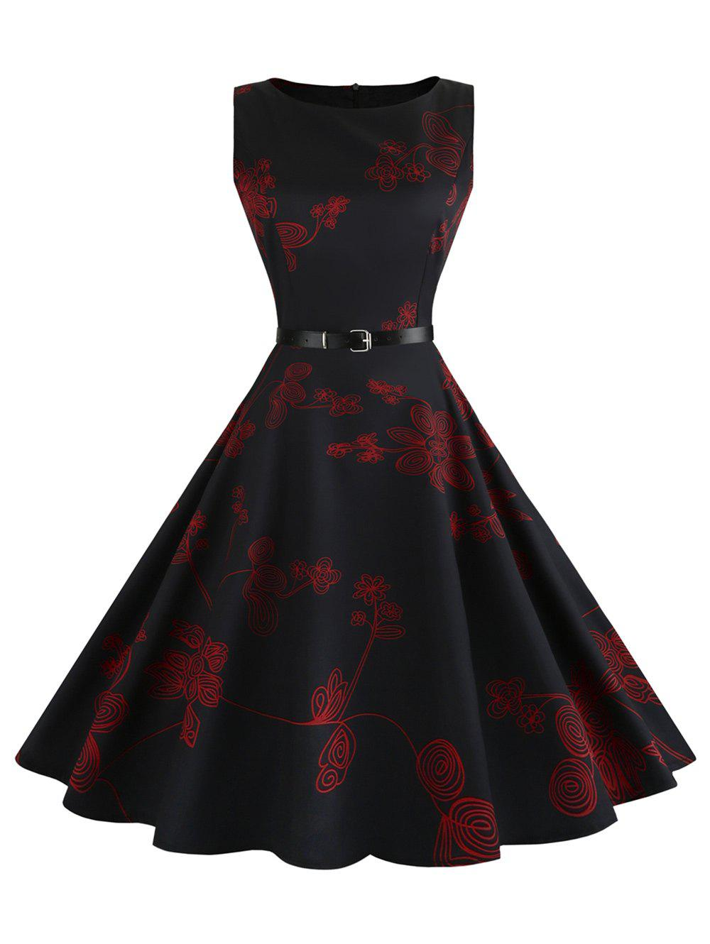 Floral Sleeveless Vintage Fit and Flare DressWOMEN<br><br>Size: L; Color: RED; Style: Vintage; Material: Cotton,Polyester; Silhouette: A-Line; Dress Type: Fit and Flare Dress,Swing Dress; Dresses Length: Mid-Calf; Neckline: Round Collar; Sleeve Length: Sleeveless; Pattern Type: Floral; With Belt: Yes; Season: Summer; Weight: 0.2500kg; Package Contents: 1 x Dress 1 x Belt;