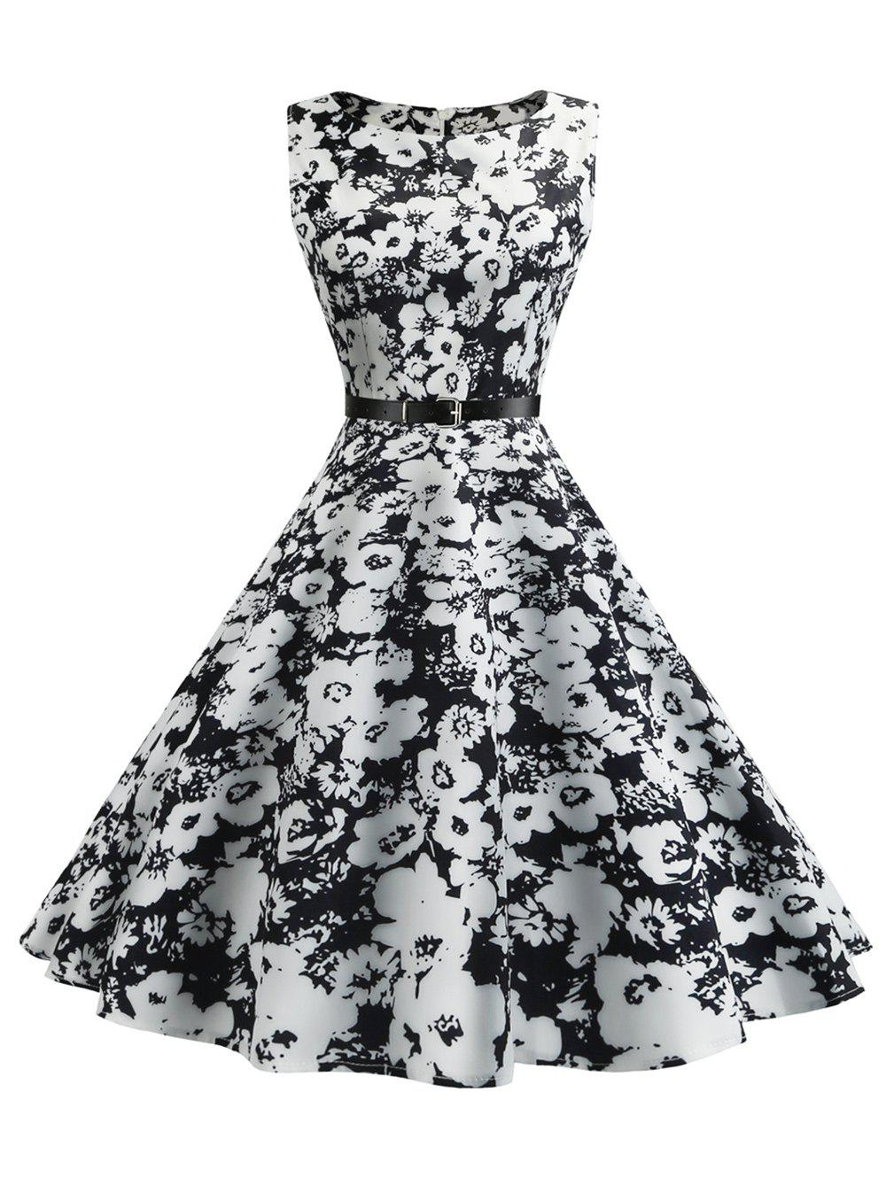 Floral Sleeveless Vintage Fit and Flare DressWOMEN<br><br>Size: 2XL; Color: WHITE; Style: Vintage; Material: Cotton,Polyester; Silhouette: A-Line; Dress Type: Fit and Flare Dress,Swing Dress; Dresses Length: Mid-Calf; Neckline: Round Collar; Sleeve Length: Sleeveless; Pattern Type: Floral; With Belt: Yes; Season: Summer; Weight: 0.2500kg; Package Contents: 1 x Dress 1 x Belt;