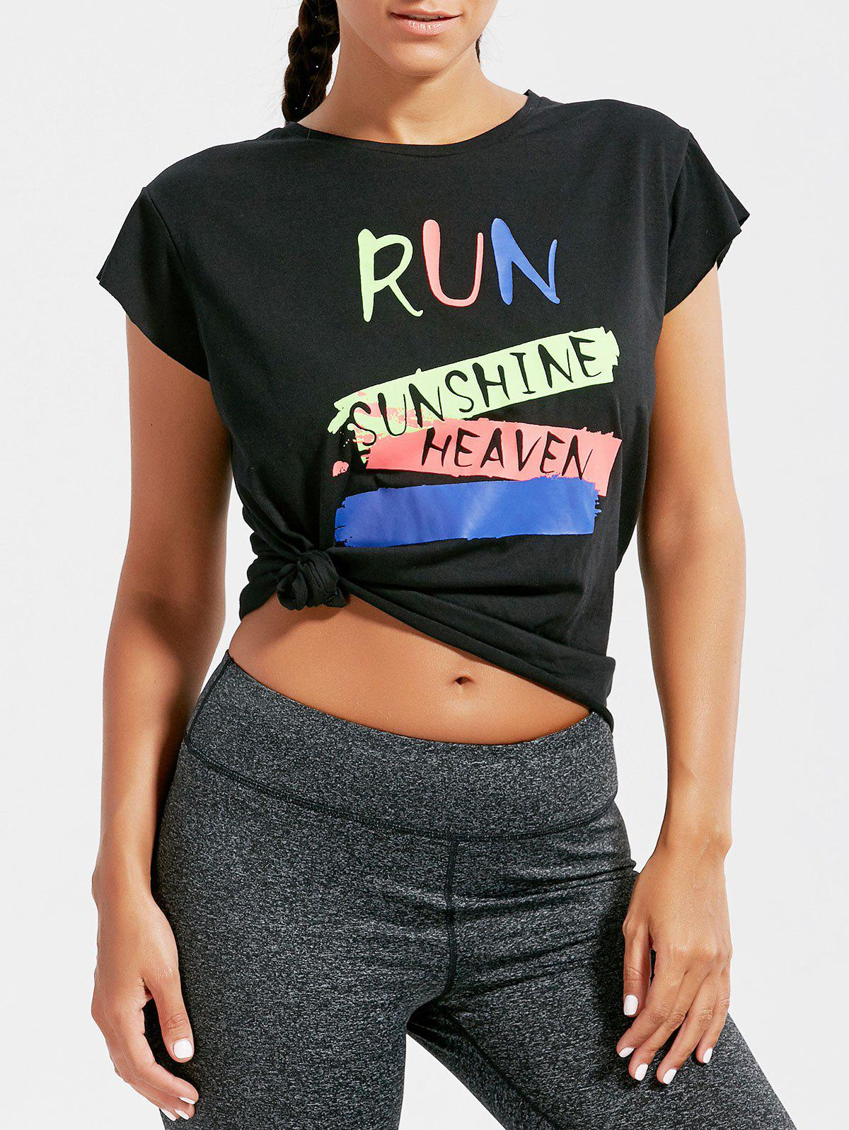 Fancy Active Letter Graphic Running T-shirt