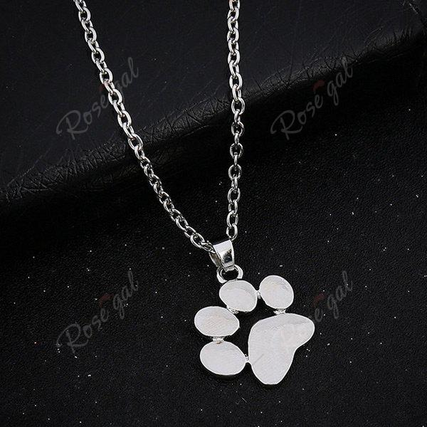 Little Dog Paw Shape Pendant NecklaceJEWELRY<br><br>Color: SILVER; Item Type: Pendant Necklace; Gender: For Women; Necklace Type: Link Chain; Metal Type: Alloy; Style: Trendy; Shape/Pattern: Animal; Weight: 0.0500kg; Package Contents: 1 x Necklace;