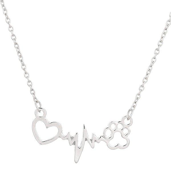 Heart Lightning Paw Shape NecklaceJEWELRY<br><br>Color: SILVER; Item Type: Pendant Necklace; Gender: For Women; Necklace Type: Link Chain; Metal Type: Alloy; Style: Trendy; Shape/Pattern: Heart,Others; Length: 42CM; Weight: 0.0500kg; Package Contents: 1 x Necklace;