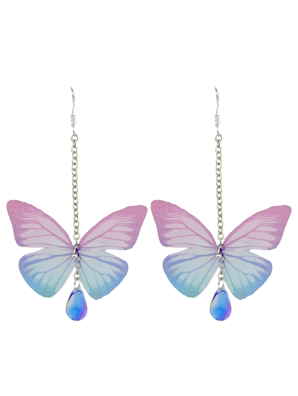 Fancy Butterfly Drop Earrings with Acrylic Gem
