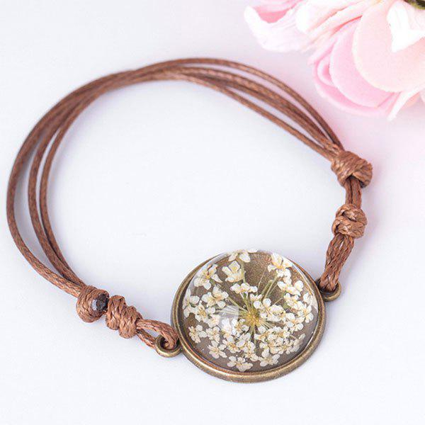 Best Glass Dry Flower Round Braid Rope Bracelet